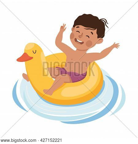 Little Boy Swimming With Yellow Duck Rubber Ring Vector Illustration