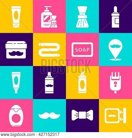 Set Barbershop, Electrical Hair Clipper Or Shaver, Shaving Brush, Towel, Cream Lotion Cosmetic Jar,