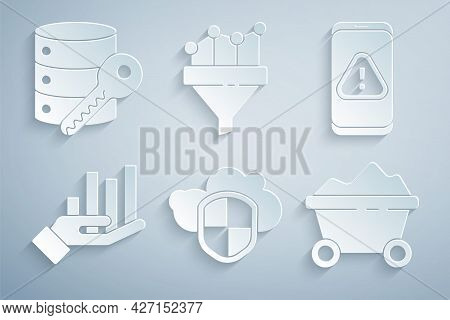 Set Cloud And Shield, Mobile With Exclamation Mark, Pie Chart Infographic, Coal Mine Trolley, Sales