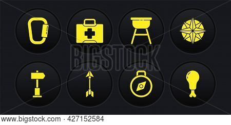 Set Road Traffic Signpost, Wind Rose, Hipster Arrow, Compass, Barbecue Grill, First Aid Kit, Chicken