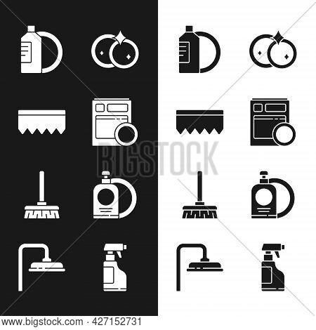 Set Kitchen Dishwasher Machine, Sponge With Bubbles, Dishwashing Liquid Bottle And Plate, Washing Di