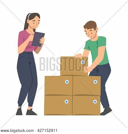 Man And Woman Volunteer With Food Box Engaged In Charity Activity Donating It To Needy Vector Illust
