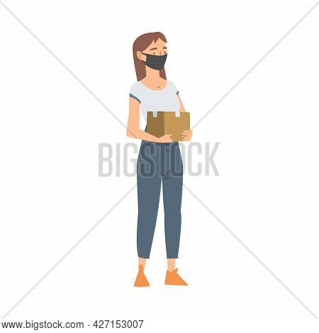 Woman Volunteer In Face Mask With Food Box Engaged In Charity Activity Donating It To Needy Vector I