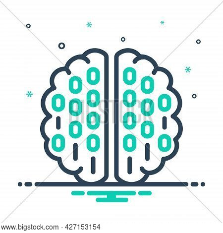 Mix Icon For Binary-mind Processor Brain Coding Mind Circuit Programmer Hardware Chip Technology Alg