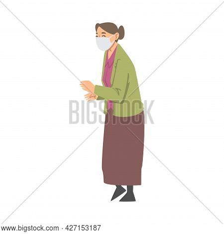 Senior Woman Wearing Face Mask In Standing Pose Vector Illustration