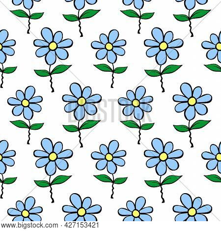 Vector Simple Primitive Floral Seamless Pattern. Cute Endless Print With Blue Flowers Drawn By Hand.