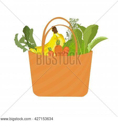 Basket Groceries Vector Stock Illustration. Food, Vegetables, Carrots, Baban, Lettuce Leaves, Greens