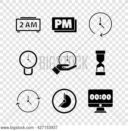 Set Digital Alarm Clock, Clock Pm, On Monitor, And Icon. Vector
