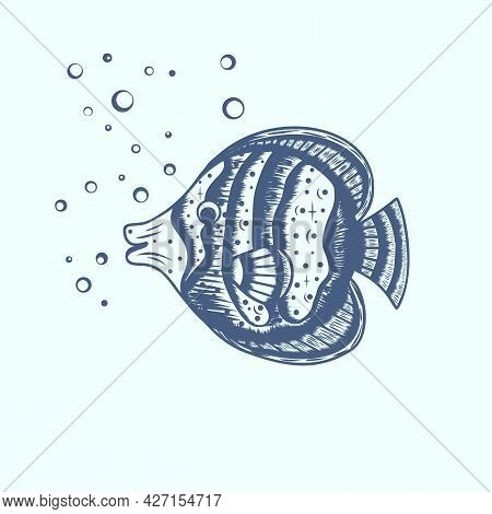 Hand Drawn Cute Fish With Water Bubbles. Cartoon Children's Illustration. A Design Element In The Ma
