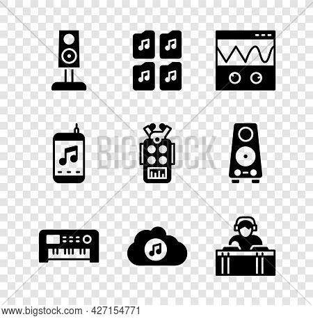 Set Stereo Speaker, Music File Document, Oscilloscope, Synthesizer, Streaming Service, Dj Playing Mu