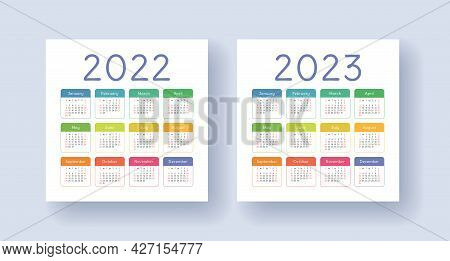 Calendar 2022 And 2023 Year Set. Vector Template Collection. Week Starts On Sunday. January, Februar