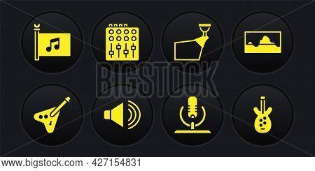 Set Electric Bass Guitar, Music Wave Equalizer, Speaker Volume, Microphone, Movie Spotlight, Sound M