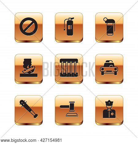 Set Ban, Baseball Bat With Nails, Judge Gavel, Prison Window, Burning Car, Hand Grenade, Police Offi