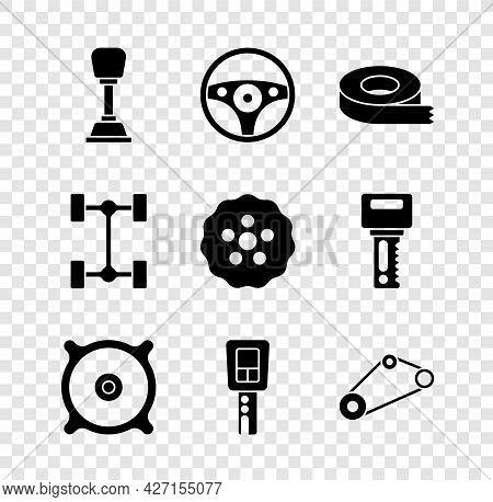 Set Gear Shifter, Steering Wheel, Scotch Tape, Car Audio Speaker, Key With Remote, Timing Belt Kit,
