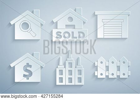 Set Skyscraper, Garage, House With Dollar Symbol, Garden Fence Wooden, Hanging Sign Text Sold And Se