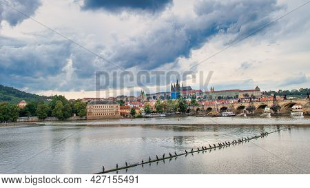 The Vltava In Prague With A Thunderstorm Arriving