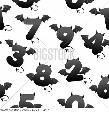 Seamless Pattern With Devil Black Numbers, Textures With Shapes With Wings And Horns For Games.