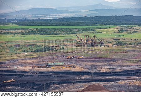Huge Mining Machines In Surface Brown Coal Mine Near Most Town - Czech Republic, Europe