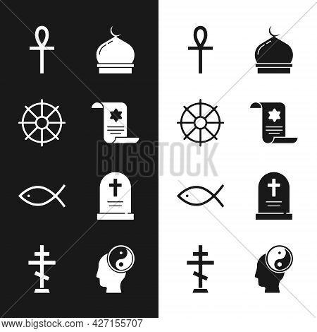 Set Torah Scroll, Dharma Wheel, Cross Ankh, Muslim Mosque, Christian Fish, Tombstone With Cross, Yin