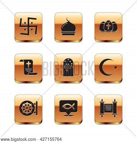 Set Hindu Swastika, Dharma Wheel, Christian Fish, Easter Cake, Decree, Paper, Parchment, Scroll, Egg