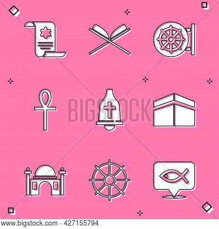Set Torah Scroll, Holy Book Of Koran, Dharma Wheel, Cross Ankh, Church Bell, Kaaba Mosque, Muslim Mo