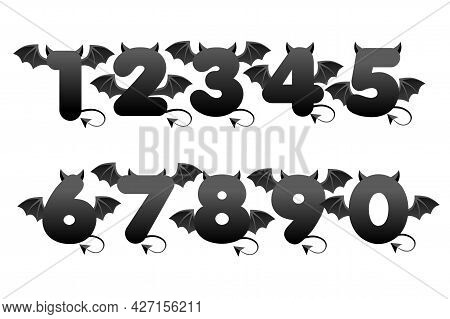 Devil Black Numbers With Wings For Ui Games.