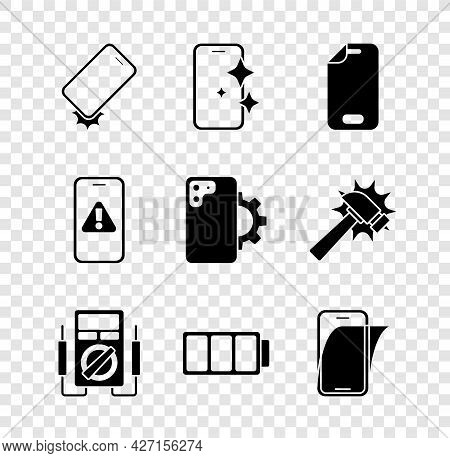 Set Shockproof Phone, Glass Screen Protector, Multimeter, Battery, Mobile With Exclamation Mark And
