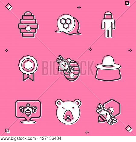 Set Hive For Bees, Honeycomb, Beekeeper With Protect Hat, Medal, And Bear Head Icon. Vector