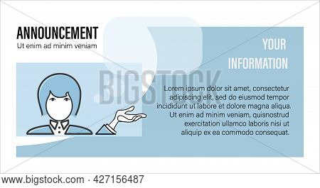 Announcement. Woman Informs. New Message, Quote. Design For Business Project, Poster, Flyer, Educati