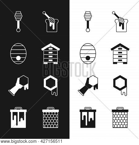 Set Hive For Bees, Honey Dipper Stick, With Honey, Honeycomb And Hand, And Icon. Vector