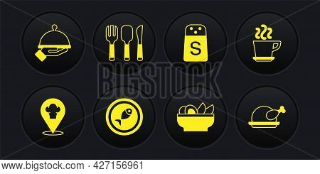 Set Chef Hat With Location, Coffee Cup, Served Fish Plate, Nachos In, Salt, Fork, Spoon And Knife, R