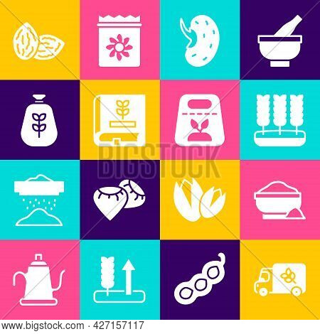 Set Flour Truck, Bowl, Wheat, Seed, Book About Seeds, Bag Of Flour, And Pack Full Plant Icon. Vector