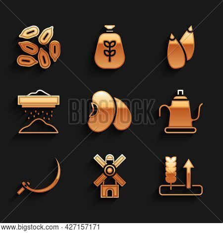 Set Beans, Windmill, Wheat, Watering Can, Sickle, Sifting Flour, Seed And Icon. Vector