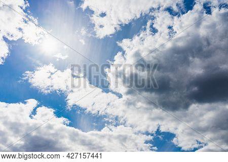 Beautiful Blue Sky,white Cloud Background. Shape Independent, Elements Of Nature.wonderful Sky. Beau
