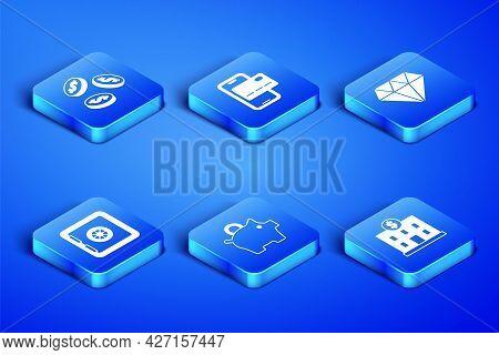Set Bank Building, Coin Money With Dollar, Piggy Bank, Safe, Mobile Banking And Diamond Icon. Vector