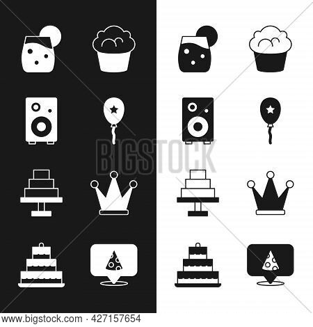 Set Balloon With Ribbon, Stereo Speaker, Cocktail, Muffin, Cake, Crown, Slice Of Pizza And Burning C