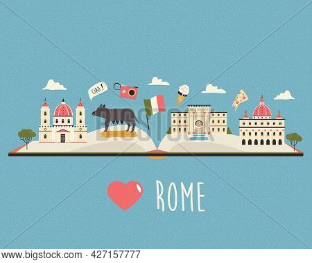 Tourist Poster With Famous Destinations And Landmarks Of Rome.
