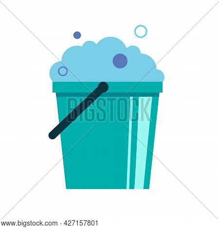 Plastic Bucket With Handle Full Of Soap Suds. Foam And Bubbles. Flat Vector Illustration Isolated On