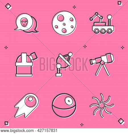Set Alien, Planet Mars, Rover, Astronomical Observatory, Satellite Dish, Telescope, Comet Falling Do