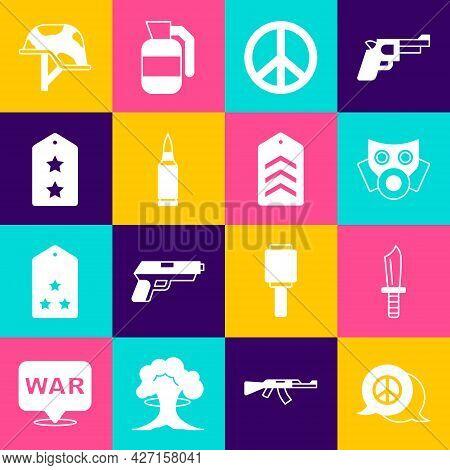 Set Peace, Military Knife, Gas Mask, Bullet, Rank, Helmet And Chevron Icon. Vector