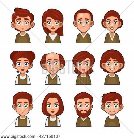 Cute Redhead Man And Girl Avatar Character. Cartoon Style Userpic Icon Set. Vector