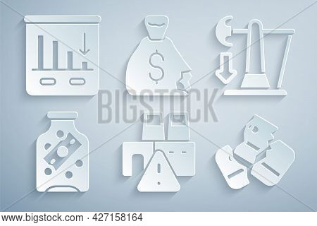 Set Shutdown Of Factory, Drop In Crude Oil Price, Glass Money Jar With Coin, Credit Card, Money Bag