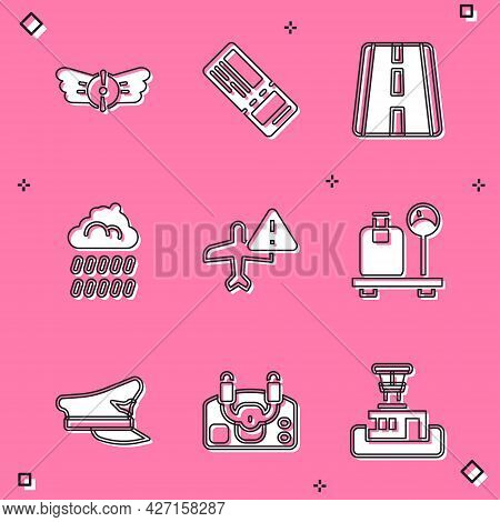 Set Aviation Emblem, Airline Ticket, Airport Runway, Cloud With Rain, Warning Aircraft, Scale Suitca