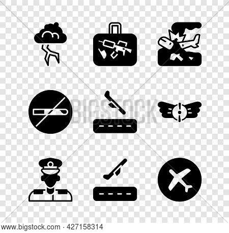 Set Storm, Suitcase, Plane Crash, Pilot, Takeoff, No Smoking And Landing Icon. Vector