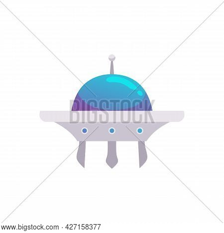Futuristic Space Travel Shuttle Or Ufo Ship, Flat Vector Illustration Isolated.