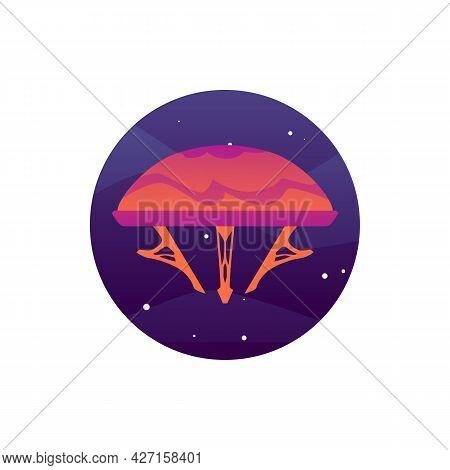 Fantasy Alien Spaceship Or Spacecraft, Flat Vector Illustration Isolated.