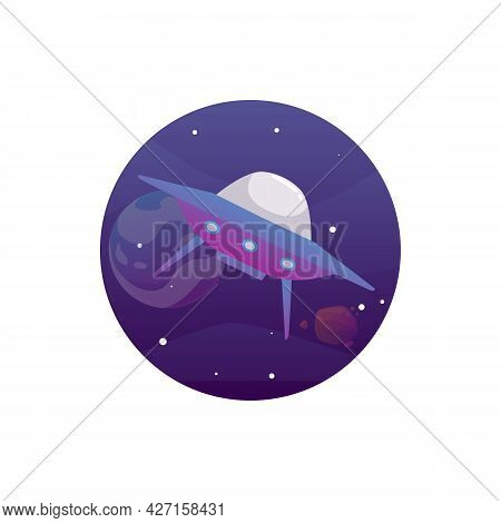 Fantasy Science Fiction Alien Spaceship Flat Vector Illustration Isolated.