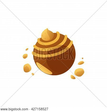 Fancy Round Caramel Or Chocolate Brown Candy, Flat Vector Illustration Isolated.