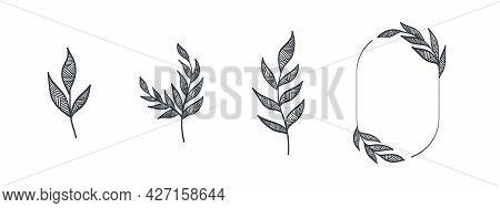 Wreaths Elements. Frames Branches Wreaths. Drawn Decorative Frames. Vector Illustration