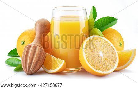 Yellow orange fruits and glass of fresh orange juice isolated on white background.